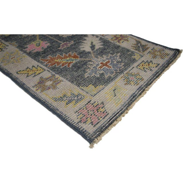 New colorful Oushak scatter rug with modern contemporary style. Highly stylish yet tastefully casual, this new colorful...