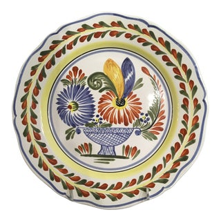 French Henroit Quimper Hand Painted Plate Signed For Sale