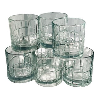Vintage 'Anchor Hocking' Translucent Cut Glen Plaid Lowball Glasses - Set of 8 For Sale