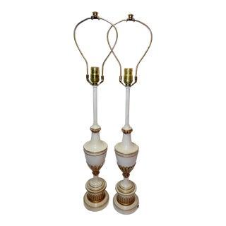 Vintage Pair Stiffel Brass Enamel Table Lamps Hollywood Regency