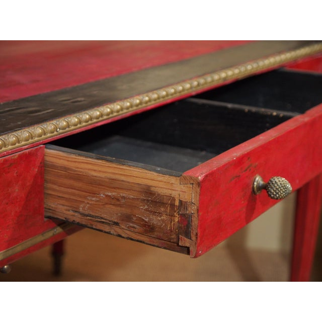 Metal Vintage French Leather Writing Desk For Sale - Image 7 of 10