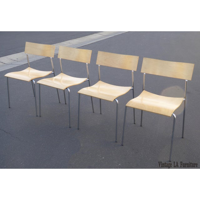 Danish Modern Lammhults Mobel Ab Mid-Century Wood & Chrome Accent Chairs - Set of 4 For Sale - Image 3 of 10