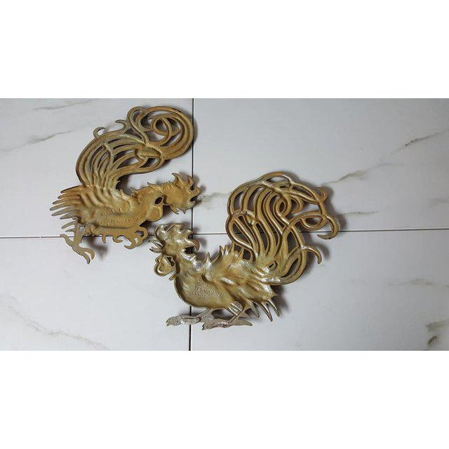 1960s Vintage Fighting Roosters Wall Decor- A Pair For Sale - Image 9 of 11