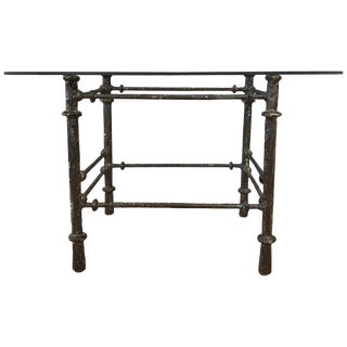 Vintage Giacometti Style Sculptural Metal and Glass Side Table