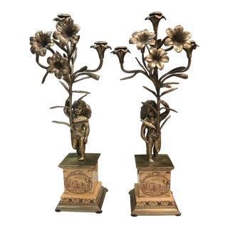 Vintage Cherub & Flower Bronze Candelabras - A Pair For Sale