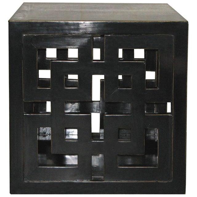 Black Lacquer Lattice Panel Cube Table - Image 2 of 2