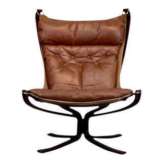 Sigurd Resell for Vatne Mobler Leather Falcon Chair