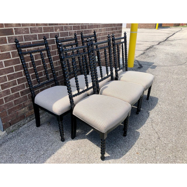 Traditional Black Wood Barley Twist Dining Chairs - Set of 6 For Sale - Image 3 of 7