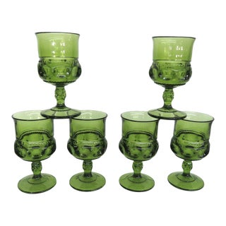 Indiana Glass Kings Crown Thumbprint Green Set of 6 Wine Cordial Goblets For Sale