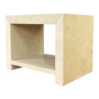 Kreiss Caravelle Travertine Marble End Table For Sale