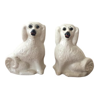 Vintage Staffordshire Spaniels with Glass Eyes - A Pair