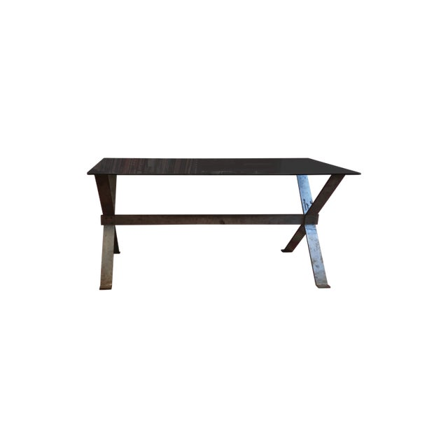 Glass 20th Century Industrial and Eclectic Smoked Glass and Steel X Base Console For Sale - Image 7 of 7