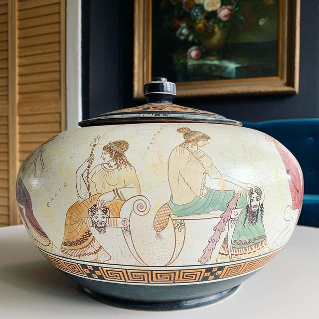 Greek Handmade Lidded Vase With 9 Muses For Sale - Image 9 of 9