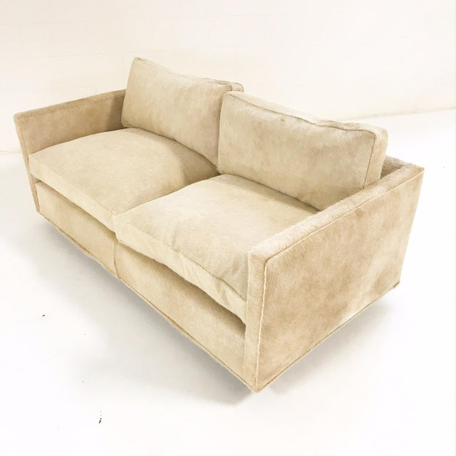 Milo Baughman for Thayer Coggin Forsyth One of a Kind Milo Baughman for Thayer Coggin Loveseat Sofa in Palomino Brazilian Cowhide For Sale - Image 4 of 11