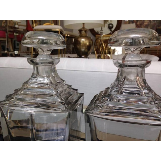 Crystal Set of 3 Art Deco Thick Crystal Decanters For Sale - Image 7 of 8