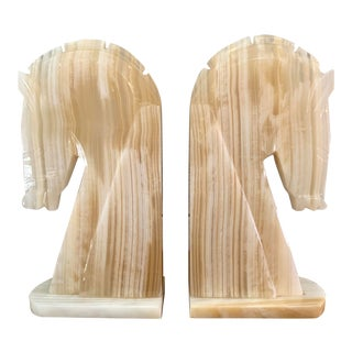 Vintage Art Deco-Style Alabaster Horse Bookends - a Pair For Sale