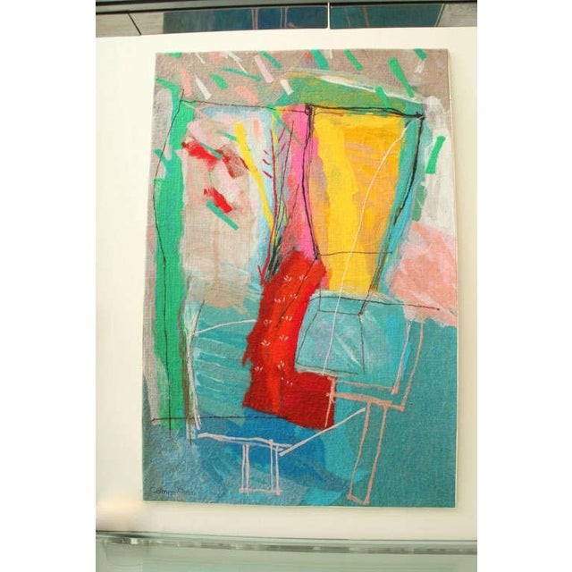 Soft painting, paint on brushed wool, titled, Still Life in Movement #4. Signed by listed artist Calman Shemi. Very...