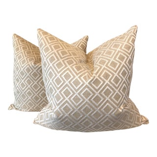 Geometric Embroidered on Linen Pillows-A Pair