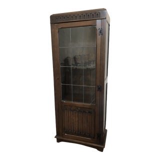 Antique Display Cabinet With Leaded Glass and Interior Lighting For Sale