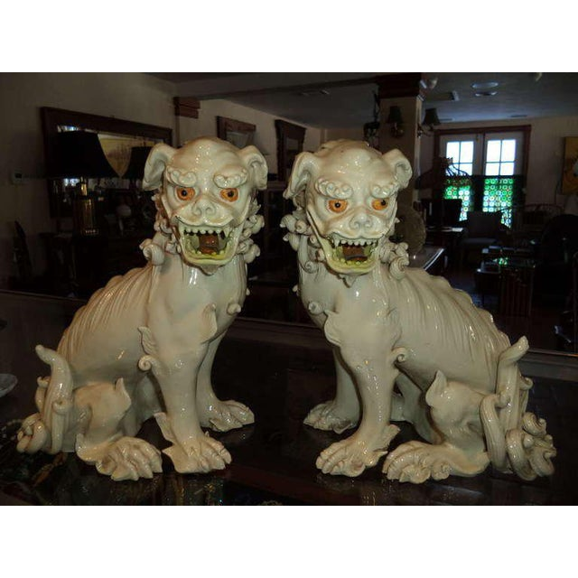 19th Century Porcelain Foo Dogs - a Pair For Sale - Image 10 of 11