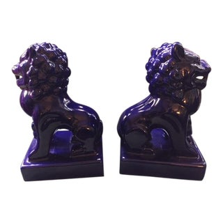Ceramic Foo Dog Bookends - a Pair For Sale