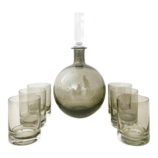 Contemporary Blown Glass Decanter & Double Old Fashion Drinks - Set of 8