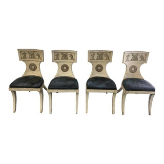 20th Century Neoclassical Black Leather Beige Wood Klismos Dining Chairs - Set of 4