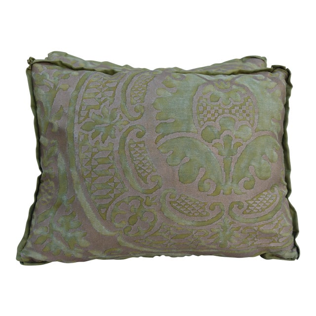 Green and Gold Fortuny Textile Pillows - A Pair - Image 1 of 4