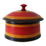 Image of 19th-Century Antique Afghanistan Round Painted Wood Spice Box For Sale