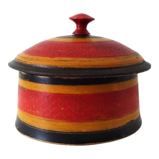 19th-Century Antique Afghanistan Round Painted Wood Spice Box For Sale