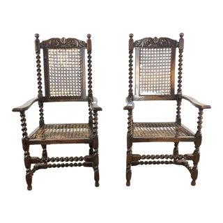 Antique Jacobean Armchairs - A Pair