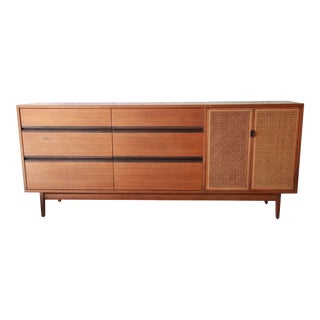 1950s Danish Modern Kipp Stewart for Calvin Walnut and Cane Dresser/Credenza For Sale