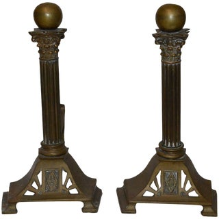 Mid-Century Modern Column Style Bronze Fireplace Andirons For Sale