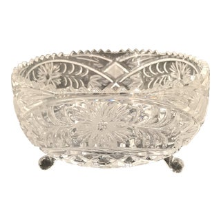 American Crystal Footed Serving Bowl For Sale