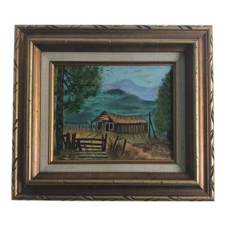 Vintage Landscape, Framed and Signed Oil Painting on Canvas