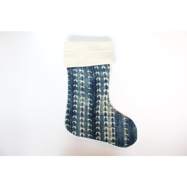 Vintage Indigo & Mud Cloth Christmas Stocking - Image 2 of 4