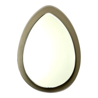 Mid Century Tear Drop Italian Mirror With Taupe Glass Frame For Sale