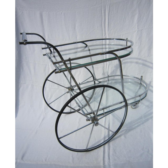Italian Chrome Bar Cart - Image 5 of 6