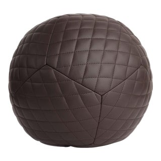 Diamond Ottoman in Chocolate Brown Leather by Moses Nadel For Sale