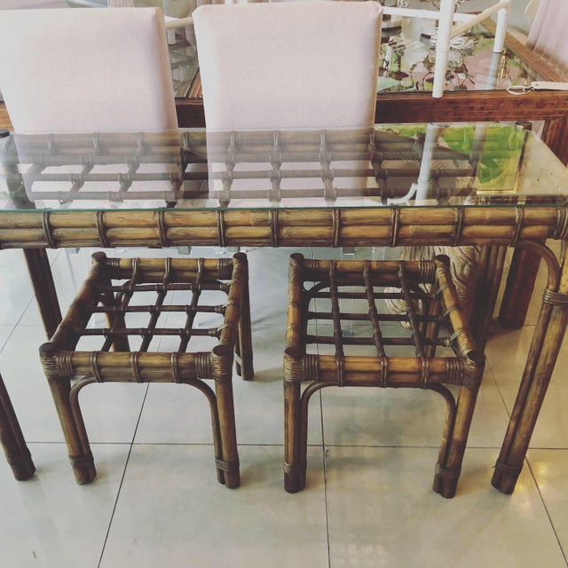 Vintage Tropical Bamboo Rattan Console Table and Benches - 3 Pc. Set For Sale - Image 12 of 13