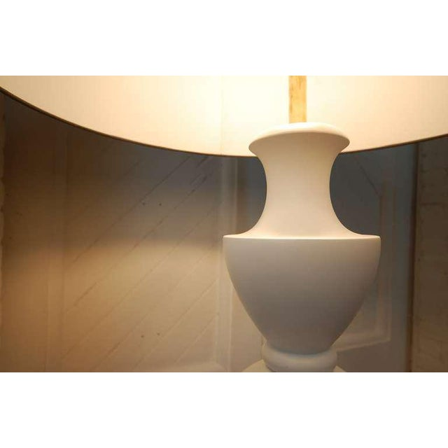White Monumental Balustrade-Form Plaster Table Lamp For Sale - Image 8 of 11