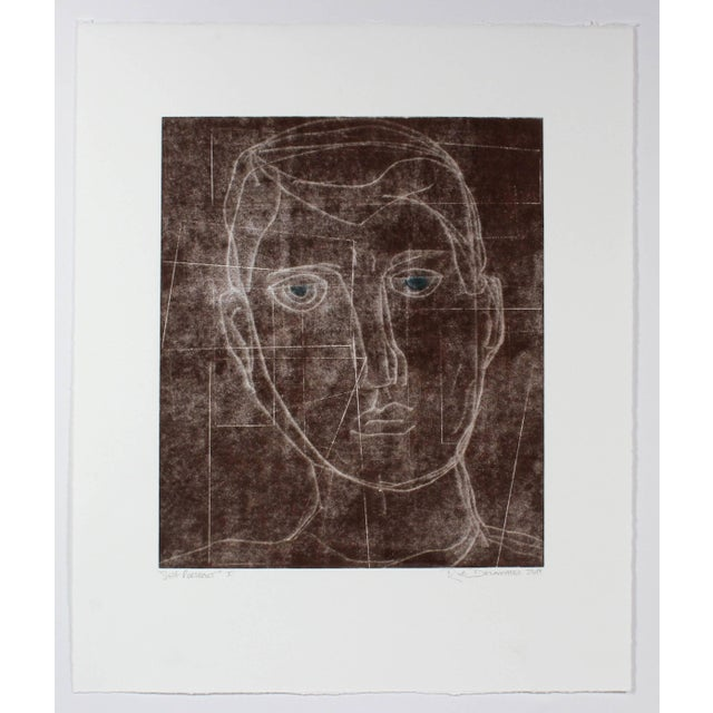 """This 2014 monoprint and gouache on paper in brown entitled """"Self Portrait I"""" is by San Francisco artist and Lost Art Salon..."""
