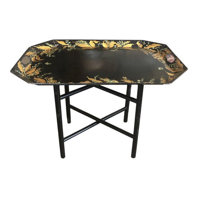 1960s Tole Butler Tray and Stand Flora Fauna Butterfly Motif For Sale