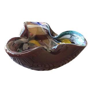 1950s Murano Red Tutti Frutti Hand Blown Glass Bowl For Sale