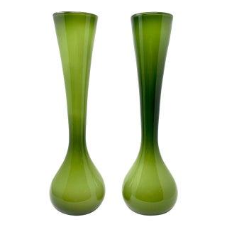Pair of Mid-Century Modern Italian Empoli Cased Glass Vases, Circa 1960 For Sale