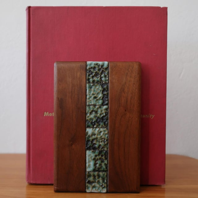 Marshall Studios Martz Bookends for Marshall Studios Walnut and Ceramic For Sale - Image 4 of 10