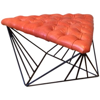1960s Vintage Tufted Leather Wrought Iron Geometric Ottoman For Sale