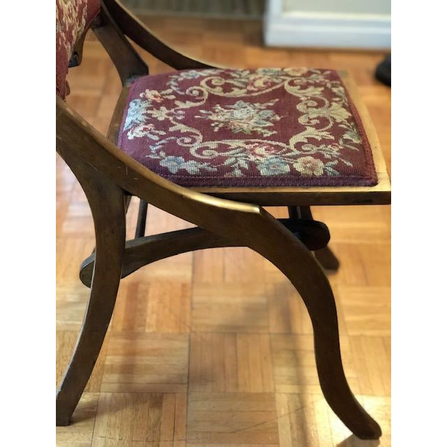 1900s Antique Victorian Tapestry Folding Chair For Sale - Image 4 of 13