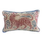 """Image of Clarence House """"Tibet Dragon"""" Red Cut Velvet & Down Filled Pillow For Sale"""