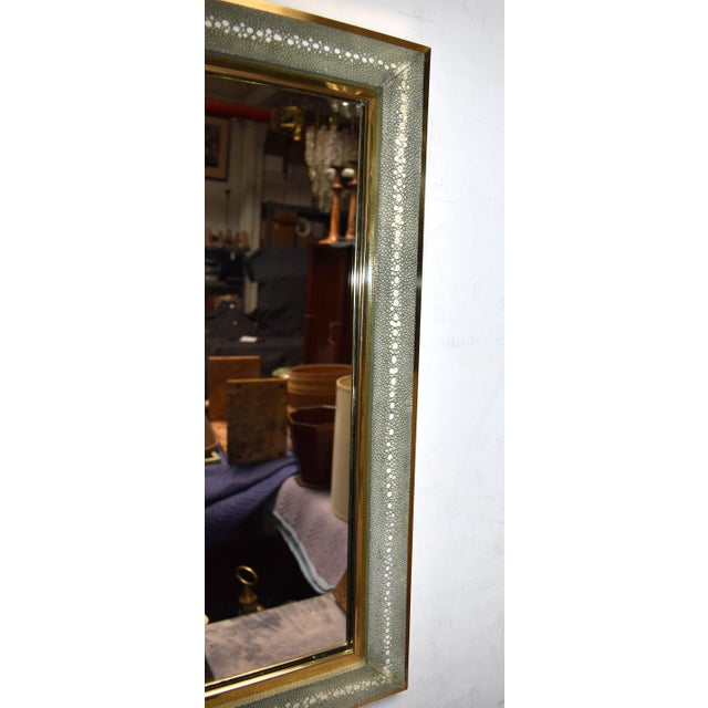 Celadon Shagreen Wall Mirror For Sale - Image 4 of 10